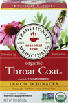 Organic Throat Coat® Lemon Echinacea Tea <p><b>From the Manufacturer</b></p> <p>Supports Throat Health**</p> <p>Caffeine Free</p>  <p>Organic Lemon Echinacea Throat Coat® is a complex and aromatic blend of herbal tastes - sweet, lemony, and viscous with a characteristic tingle on your tongue from the alklamides in echinacea, which is one of the important indicators of herb quality.</p>  16 Tea Bags  $3.99