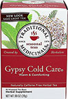 Gypsy Cold Care® Tea <p><b>From the Manufacturer</b></p> <p>Made with Organic Elder</p> <p>Caffeine Free</p>  <p>Gypsy Cold Care® is a complex and aromatic blend of herbal tastes-pungent, slightly bitter, minty and sweet.</p>  <p>We use pharmacopoeial grade herbs in this tea.  That means that these herbs meet the highest standards set for quality, purity, strength, identity and composition.  While it is accepted to us