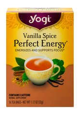 Vanilla Spice Perfect Energy™Tea <p><strong>From the Manufacturer's Label:</strong></p><p><strong>Vanilla Spice Perfect Energy™ Tea</strong></p><p>Discover Yogi Perfect Energy, a unique blend of tea with herbs. A complex blend of Green Tea and Assam Black Tea plus amino acid L-Theanine. Organic Gotu Kola Leaf and Ashwagandha are added.  Flavored with vanilla bean and exotic spices, this is one delicious tea.</p> 16 Tea Bags  $7.69