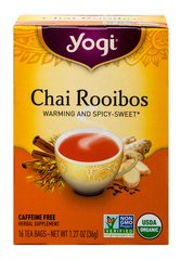 Organic Chai Rooibos Tea <p><strong>From the Manufacturer's Label:</strong></p><p><strong>Transport Yourself with Exotic Chai Rooibos Tea<br /></strong></p><p>Evoke the beauty of South Africa with this delicious all Organic Chai Rooibos tea. A creative twist on traditional chai tea. </p><p>Bask in the spicy warmth with this caffeine-free Rooibos, the red tea of South Africa.  A  combination of Cardamom,