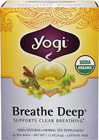 Organic Breathe Deep® Tea <p><b>From the Manufacturer's Label:</b></p>  <p><b>Take a Moment</b></p> <p>Yogi's all organic formulation is a blend of herbs used in many herbal  traditions. Thyme and warming, aromatic Eucalyptus are in this blend.  Licorice adds a light naturally sweet flavor.  Enjoy this tea plain or sweetened with a little honey. Experience a delightful cup of tea. </p> <p><b>Get the Most Out of