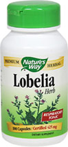 Lobelia Herb 425 mg <p><strong>From the Manufacturer's Label:</strong></p><p>Lobelia 425 mg manufactured by Nature's Way.</p> 100 Capsules 425 mg $4.99