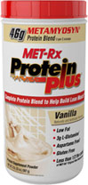Protein Plus® Vanilla The renowned MET-Rx® protein formulation consists of METAMYOSYN®, which combines premium whey protein isolates and casein proteins, plus L-Glutamine and naturally occurring Branched Chain Amino Acids from protein - Isoleucine, Leucine and Valine. Whey is a fast-acting protein while casein is slow-acting, which results in a more prolonged absorption rate to extend the delivery of amino acids to muscles.* Milk protein is a natural source of whey and casein. MET