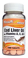 Cod Liver Oil with Vitamins A, C, D <strong></strong><p><strong>From the Manufacturer's Label </strong></p>Chewable Cod Liver Oil with Vitamins A, C, & D.  <p></p>This time honored favorite is one of nature's richest sources of Vitamins A, D & Omega-3 Fatty Acids. 100 Chewables  $3.99