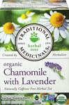 Organic Chamomile with Lavender Tea <p><b>From the Manufacturer's Label: </p></b><p>Caffeine Free</p>  <p>Eases Tension, Stress and a Nervous Stomach**</p>  <p>A pleasantly aromatic balance of slightly bitter, with lemon and a hint of apple.</p>    <p>The combination of chamomile and lavender with lemon balm has digestive and nervous system sedating properties useful for nervous stomach and restlessness associated with upset s