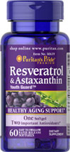 Resveratrol 100 mg & Astaxanthin 5 mg Softgels 60 Softgels  39.99