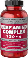 Beef Amino Complex 750mg <p><span></span>Amino Acids help build protein.**</p> <p><span></span>Muscle Nitrogen support.**</p> <p><span></span>Laboratory verified disintegration.</p> <p>Myology™ Beef Amino Complex is designed to give you the amino acid benefits of beef, without all of the fat and calories. Amino acids are essential for health and can be used as fuel for energy.** Beef Amino Complex caplets are tested to
