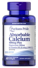 Absorbable Calcium 600mg plus Magnesium 300mg & Vitamin D 1000iu