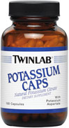 Potassium 99 mg <p><b>From the Manufacturer's Label: </p></b><p>Natural Potassium Citrate.**</p> <p>Manufactured by TWIN LAB.</p> 180 Capsules 99 mg $7.90