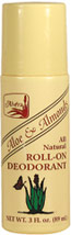 Alvera Aloe & Almonds All Natural Roll-On Deodorant <p><b>From the Manufacturer's Label: </p></b><p>This all natural, all vegetable deodorant formula is designed to keep you dry and odor-free throughout the entire day.</p><p>Manufactured by Alvera</p>   3 oz Roll-On  $2.89