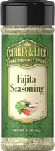 Fajita Seasoning <p>Our in-house brand of Surrey & Loeb Fajita Seasoning is a delicious blend of salt, pepper, onion, garlic and other spices. These ingredients will impart the distinct and perfect flavor to your dish.</p> 3 oz Seasoning  $4.24