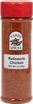 Rotisserie Chicken Seasoning <b><p> From the Manufacturer:</b></p><P><b></b></p> <p>A unique and wonderful rotisserie blend designed for long and low cook times with poultry. Its tangy sweetness works wonders on pork as well. </p>   3.4 oz Seasoning  $8.49