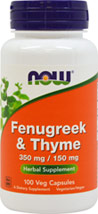 Fenugreek & Thyme 500 mg  <p><b>From the Manufacturer's Label:</b></p> <p>Fenugreek is one of the oldest herbs traditionally used in ancient Greece, Egypt and China.  It has been used in a variety of ways and can be added to hot water to make tea. T.vulgaris variety of Thyme is the cultivated form of wild thyme.  It has also been used by herbalists for over 2,000 years and is an appropriate synergist with Fenugreek.</p> <p>Manufactured by Now&amp