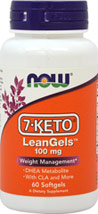 7-Keto LeanGels <strong></strong><p><strong>From the Manufacturer's label:</strong></p><p>7-KETO® is the patented ingredient that has been shown in clinical studies to assist in the maintenance of a healthy body weight and helps to maximize results of a proper diet and exercise. The special blend of ingredients in NOW® 7-KETO® LeanGels™, including CLA and green tea polyphenols, work synergistically to provide healthy weight management,