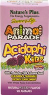 Animal® Parade Acidophikidz®Chews <b><p> From the Manufacturer's Label: </b></p><p> Animal Parade® AcidophiKidz® is a specially crafted blend of friendly intestinal flora which provide the healthful benefits associated with gastrointestinal balance. ** AcidophiKidz® supplies the rare herbal extract Rhododendron caucasicum and the probiotic B. coagulans. Pure fructooligosaccharides (FOS) helps maximize the effects of probiotic supplementa
