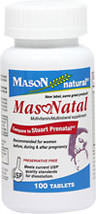 MasoNatal <p><strong>From the Manufacturer's label:</strong></p><p>MasoNatal is manufactured for Mason Vitamins, Inc.</p><p>Recommended for women before, during and after pregnancy.  Preservative Free.</p> 100 Tablets  $8.99