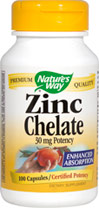 Zinc 30 mg Chelate <p><b>From the Manufacturer's Label: </p></b><p>Enhanced Absorption</p> <p>Health & longevity through the healing power of nature—that's what it means to Trust the Leaf.** Zinc is essential for cellular reproduction and is present in all tissue, organs and secretions of the body.** It is provided in an advanced amino acid chelate complex for optimal absorption.</p> 100 Capsules 30 mg $4.54