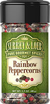 Rainbow Peppercorns <p>As flavorful as they are eye-catching, our Rainbow Peppercorns are a gorgeous mix of four peppercorns: intense black, powerful white, crisp green, and the much more rare pink, which has a somewhat fruity flavor. This bold combination allows you to experience the complexities of each pepper. Bursting with contrasting peppery goodness, this blend can make a robust addition to any dish.</p>  1.7 oz Pepper  $6.34