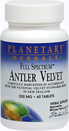 Full Spectrum™ Antler Velvet 250 mg <p><b>From the Manufacturer's Label:</b></p> <p>Planetary® Herbals Full Spectrum™ Antler Velvet is a tonifier that has been used in China for over 2,000 years. Antler velvet is the early stage of antler growth and is a rich source of collagen, glycosaminoglycans, and glycoproteins, all of which support the skeletal system. Antler velvet is regenerated every year and harvested with great care in a humane manne