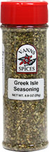 Greek Isles Seasoning <B>From The Manufacturers Label:</B> <P>A traditional Greek blend exceptional on baked or grilled fish and chicken.  Add to olive oil and red wine vinegar to make a Greek salad dressing or marinade.  No Preservatives, No Irradiation.</P>  0.9 oz Seasoning  $7.99