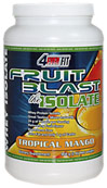 Fruit Blast™ Isolate Protein Tropical Mango <p><b>From the Manufacturer's Label: </p></b><p>Whey Protein Isolate</p> <p>Great Tasting, Mixes Instantly</p> <p>24 g of Protein per Serving</p> <p>Aspartame Free</p> <p>Zero Fat & Only 1 g of Carbs</p>   <p>4EVER® FIT's Fruit Blast™the Isolate uses a unique combination of cross-flow ultrafiltration and advanced microfiltration. This gentle process e