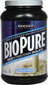Biopure™ Whey Protein Isolate Vanilla Cream <p><b>From the Manufacturer's Label:</b></p> <p>Biopure™ Whey Protein Isolate is manuafactured by Biochem® Sports.</p> 2 lbs Powder  $32.49