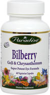 Bilberry 100 mg with Goji & Chrysanthemum <p><b>From the Manufacturer's Label:</b></p> <p>Bilberry  100 mg with Goji & Chrysanthemum is manufactured by Paradise Herbs.</p> 60 Vegi Caps 100 mg $15.99