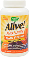 Alive!® Multivitamins <p><b>From the Manufacturer's Label: </p></b><p>Alive! nutrients are better absorbed into your blood stream because its tablets disintegrate up to 5X faster than other leading brands.</p> <p>Manufactured by NATURE'S WAY.</p> 180 Tablets  $27.99