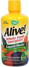 Alive!® Liquid Multivitamins <p><strong>From the Manufacturer's Label: </strong></p>Alive! Liquid is the ultimate nutritional energy source — with the greatest diversity of daily essentials, whole food concentrates, phytonutrients and antioxidants to nourish, protect and invigorate your body.<br />Manufactured by NATURE'S WAY 30 oz. Liquid  $22.99