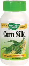 Corn Silk 425 mg <p><b>From the Manufacturer's Label: </p></b><p>Corn Silk (Zea mays) was used traditionally as a mild diuretic. It has been included in herbal preparations for the bladder and urinary tract, and used by Native Americans for urinary complaints.</p> <p>Manufactured by NATURE'S WAY.</p> 100 Capsules 425 mg $5.99