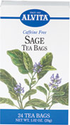 Sage Tea <p><b>From the Manufacturer's Label: </p></b><p>Caffeine Free</p> <p>Sage is often used today as a spice for flavoring vegetables, chicken, meats, fish and eggs.  It can be sweetened with maple syrup, brown sugar or honey, or flavored with a squeeze of orange, lemon, or a dash of cinnamon.</p> 24 Tea Bags  $4.19