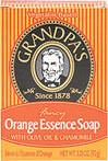 Orange Essence Bar Soap with Olive Oil & Chamomile <p>Grandpa's Orange Essence Bar Soap with Olive Oil & Chamomile is delightfully reminiscent of orange blossoms and Creamsicles®. Olive Oil, a natural moisturizer, enhances this creamy citrus bar, making it ideal for dry skin. Chamomile, with its soothing properties, helps relax and comfort you. Bask in your own private orange grove.</p><p>Orange Essence soap pampers your skin as it stimulates your senses. &