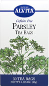"Parsley Tea Caffeine Free   <p><b>From the Manufacturer's Label:</b></p> <p>Parsley (Petroselinum crispum) is best known as a plate garnish whose use is not only decorative, but also works as an after-dinner breath ""mint"" to reduce mouth odor. This is due to Chlorophyll, abundant in fresh parsley, which does indeed absorb odors. Parsley is also a good source of iron and trace elements needed for good health.</p>   <p>Parsley is one of the o"