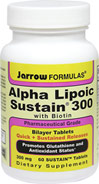Alpha Lipoic Sustain® 300 mg with Biotin <p><b>From the Manufacturer's Label:</b></p>  <p> Pharmaceutical Grade</p> <p> Bilayer Tablets</p> <p> Quick + Sustained Releases</p> <p> Promotes Glutathione and Antioxidant Status**</p> <p> Dietary Supplement</p> <p> Suitable for Vegetarians/Vegans</p>   <p> Alpha Lipoic Sustain 300® is in a special SUSTAIN™ bilayer Quick Release/Sustained Rel
