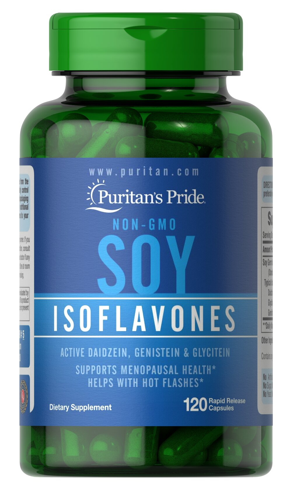 Non-GMO Soy Isoflavones 750 mg <p>Soy is a rich, plant-based source of phytoestrogens, which are naturally occurring compounds that help with hot flashes in menopausal women.**</p><p>Made from non-GMO certified soybeans, soy isoflavones provide holistic supplementation for a woman's midlife years. Our non-GMO soy isoflavones  include Daidzein, Genistein, and other soy isoflavones.</p> 120 Capsules 750 mg $17.99