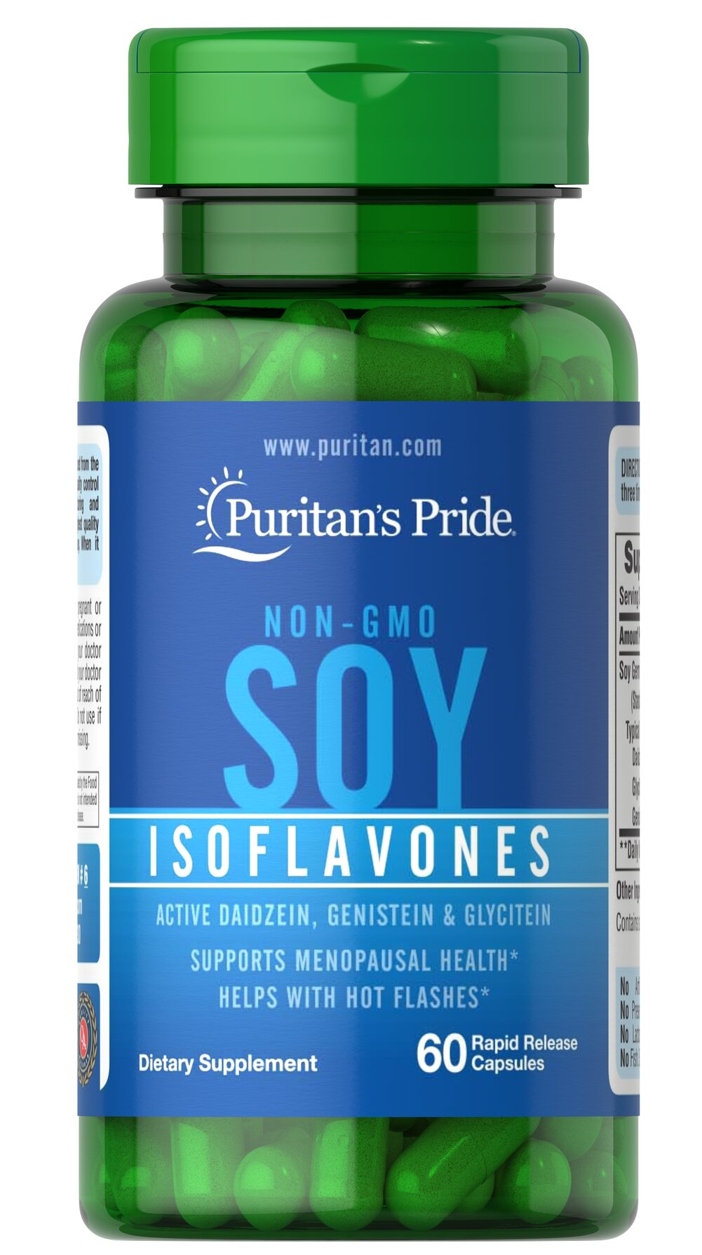 Non-GMO Soy Isoflavones 750 mg <p>Soy is a rich, plant-based source of phytoestrogens, which are naturally occurring compounds that help with hot flashes in menopausal women.**</p><p>Made from non-GMO certified soybeans, soy isoflavones provide holistic supplementation for a woman's midlife years. Our non-GMO soy isoflavones  include Daidzein, Genistein, and other soy isoflavones.</p> 60 Capsules 750 mg $10.99
