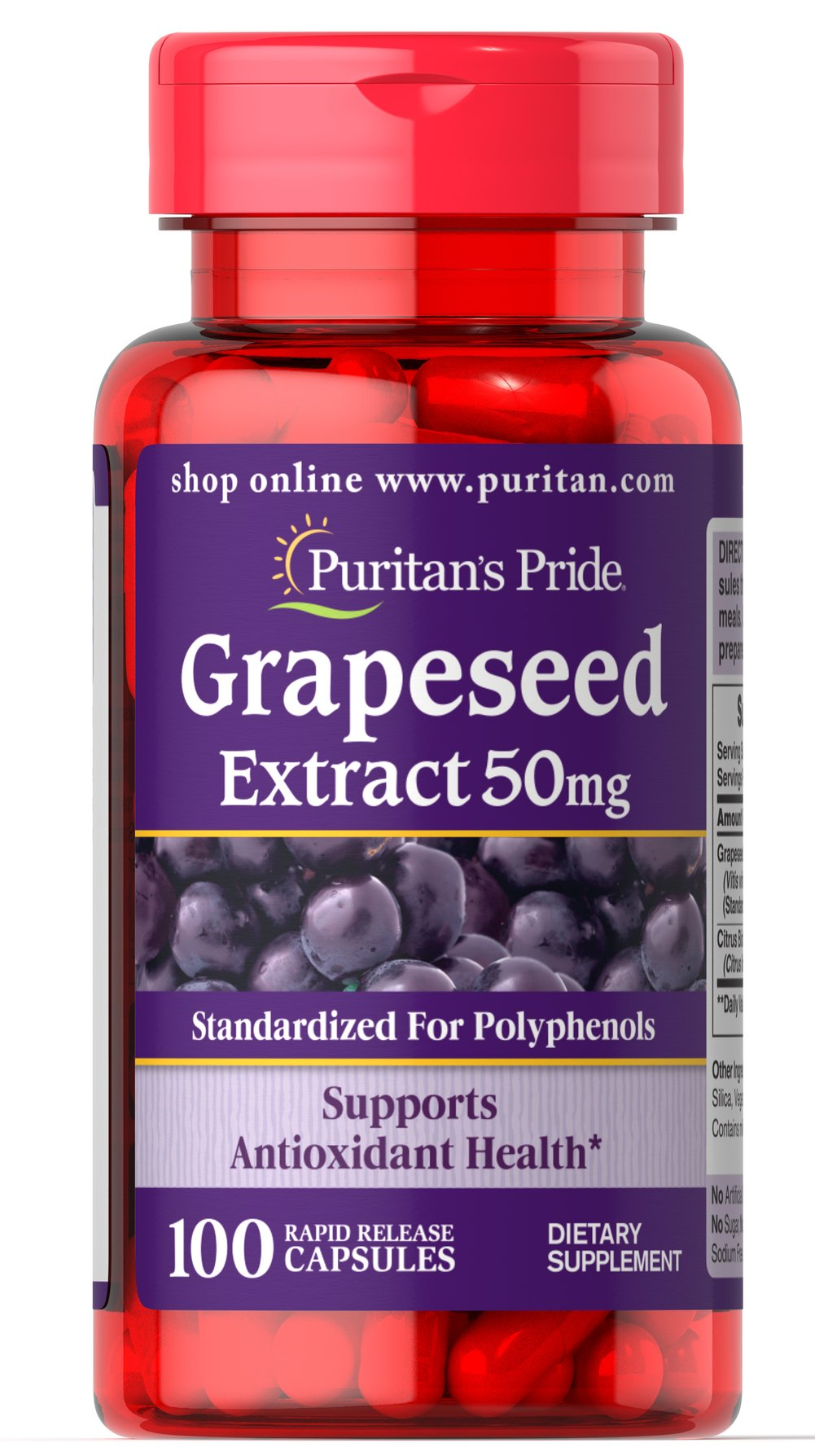 Grapeseed Extract 50 mg <p><b>Grapeseed Extract</b> helps maintain antioxidant health.** It contains oligomeric proanthocyanidins (OPCs), which are naturally occurring bioflavonoids. Free of yeast, wheat, sugar, preservatives, soy,  gluten, fish, artificial color, artificial flavor and sodium (less than 5 mg per serving). Standardized to contain 50% Polyphenols. Adults can take one capsule one or two times daily.</p> 100 Capsules 50 mg $9.99