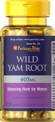 Wild Yam Root 405 mg <p>Natural Whole Herb**</p>Wild Yam has been known for centuries as a popular herb for women's health. Wild Yam contains the natural saponin, diosgenin, and is used by women around the world, especially during midlife years.</p> 100 Capsules 405 mg $9.49