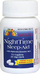 Night Sleep-Aid <p><b>From the Manufacturer's Label: </p></b><p>Relieves occasional sleeplessness. For adults and children 12 years of age and over. </p><p>Active ingredient: Diphenhydramine HCl 25 mg (night sleep aid). </p><p>Compare to active ingredient of Nytol®.</p> 72 Caplets 25 mg $7.29