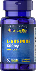 L-Arginine 500 mg <p>Arginine is one of 20 amino acids, the building blocks of protein.** Arginine can  serve as a source of energy, and is involved in various pathways throughout the body.** Arginine supports the effect of exercise and is one of the most important amino acids involved in immune function.** Adults can take one caplet daily. </p> 50 Capsules 500 mg $6.99