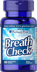 Breath Check® <p>Get a mouth full of freshness after every meal. Breath Check® helps rid your breath of even the strongest foods like garlic, onions, and those hot spicy enchiladas! Have the confidence to go from a rich meal to an important date with confidence!</p> 150 Softgels  $10.29