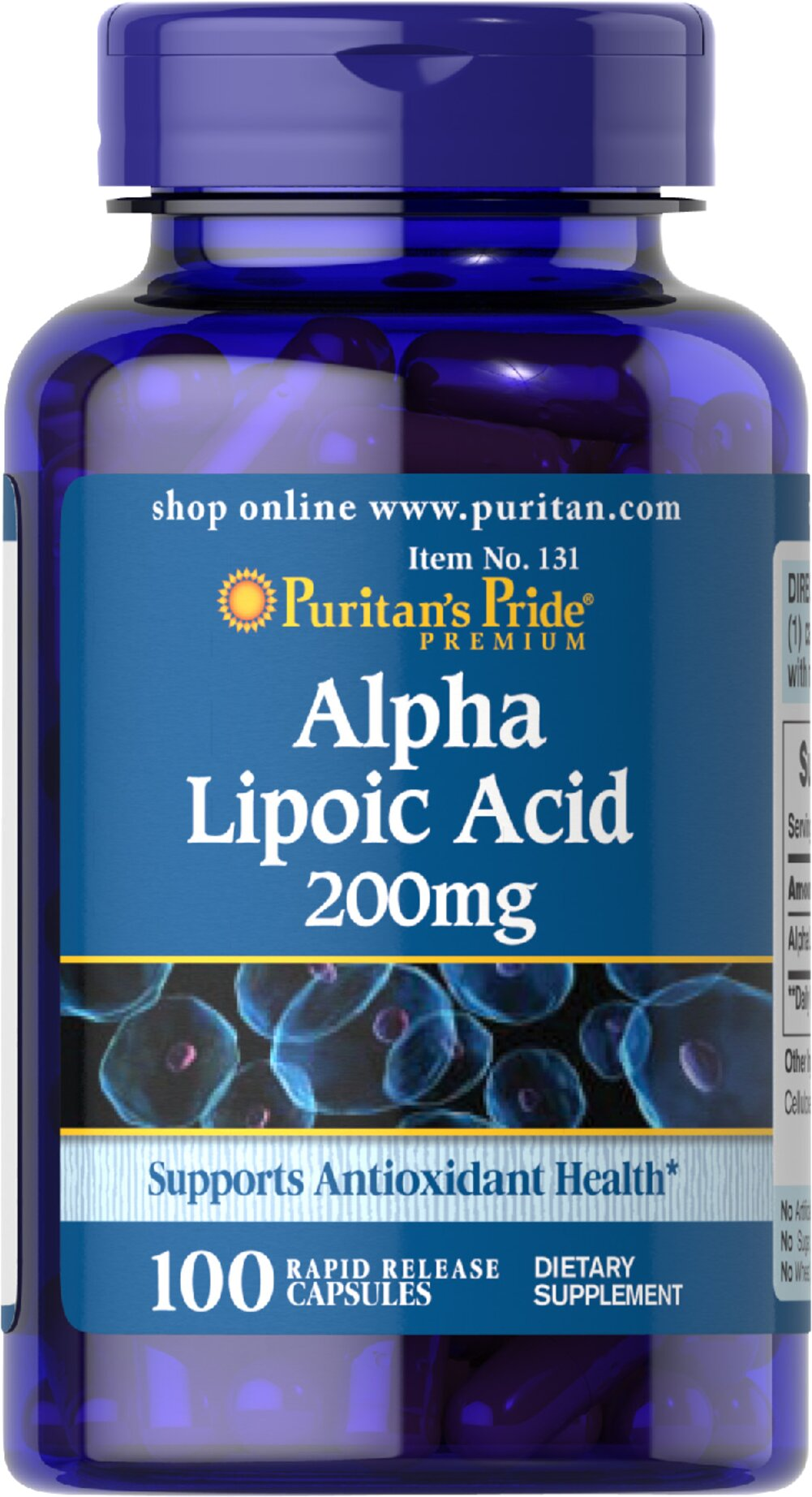 "Alpha Lipoic Acid 200 mg <p>Alpha Lipoic Acid (ALA) helps metabolize sugar, especially in muscles, where it promotes energy.**</p><p>ALA is also beneficial for liver health, and helps to revitalize the underlying structure of the skin so it can look healthier and more radiant.**</p><p> ALA is often called the ""universal antioxidant"" for its ability to help neutralize cell-damaging free radicals.** </p> 100 Capsules 200 mg $19.99"