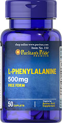 L-Phenylalanine 500 mg <p>L-Phenylalanine is an essential amino acid, meaning it cannot be made by the body and must be obtained from food. As an amino acid, L-Phenylalanine provides the building blocks for protein, which is needed for the body's normal growth and development. These vegetarian L-Phenylalanine tablets help to form some of the neurotransmitters that work in the mood centers of the brain.**</p>   50 Caplets 500 mg $14.39