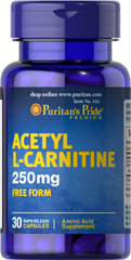 Acetyl L-Carnitine 250 mg <p>Acetyl L-Carnitine plays a role in the metabolism of food to energy.** Studies indicate that the combination of Alpha Lipoic Acid and Acetyl L-Carnitine helps promote metabolic functioning to fight against free radicals and oxidative stress.**</p>  30 Capsules 250 mg $5.99