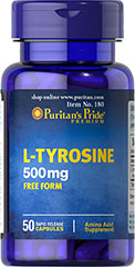 L-Tyrosine 500 mg <p>Amino Acids are important components of protein.* L-Tyrosine is an amino acid that helps form the bioactive factors vital to cellular growth and maintenance.**</p> 50 Capsules 500 mg $6.99