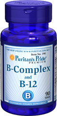 Vitamin B-Complex and Vitamin B-12 <p>For that Feeling of Well Being! This product combines yeast concentrate, Vitamin B-12, a protease and a Vitamin B-Complex from natural sources. B-Complex vitamins may be involved in energy production and help maintain the health of nerves, eyes, skin and hair.** Protease aids protein utilization.** The Vitamin B-12 helps in the maturation of red blood cells.**</p>  90 Tablets  $3.49