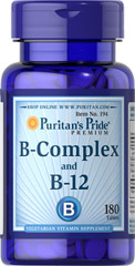 Vitamin B-Complex And Vitamin B-12 <p>For that Feeling of Well Being! This product combines yeast concentrate, Vitamin B-12, a protease and a Vitamin B-Complex from natural sources. B-Complex vitamins may be involved in energy production and help maintain the health of nerves, eyes, skin and hair.** Protease aids protein utilization.** The Vitamin B-12 helps in the maturation of red blood cells.**</p> 180 Tablets  $11.99