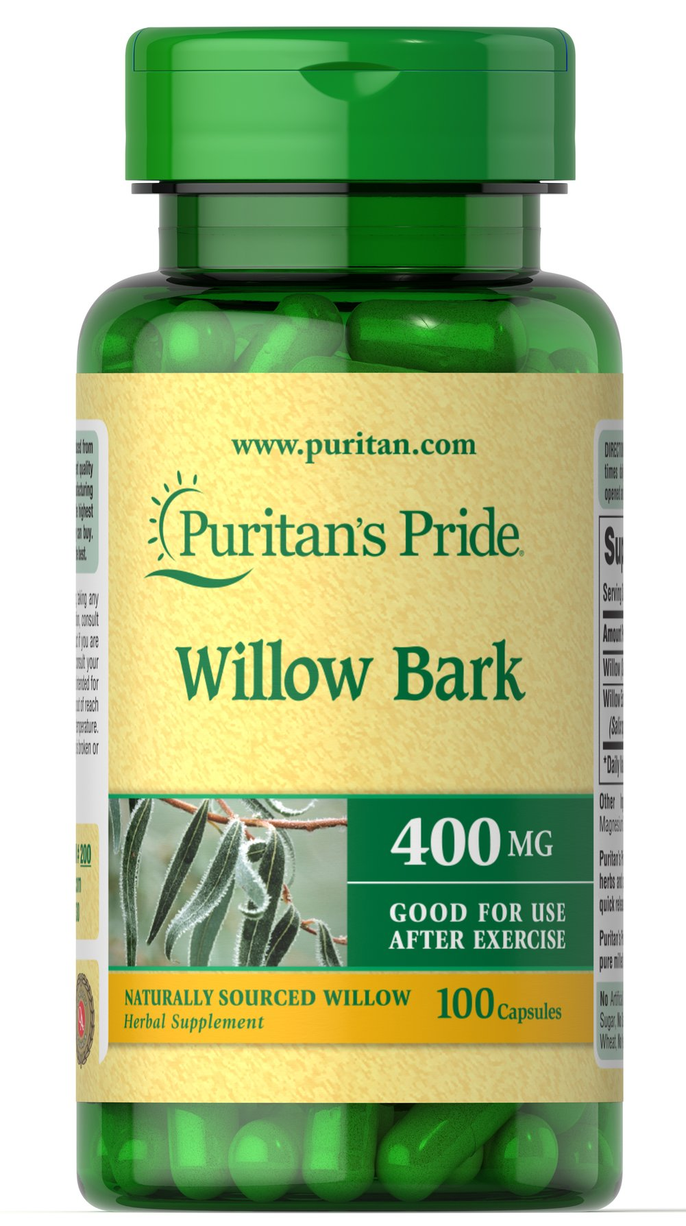 White Willow Bark 400 mg <p> Good for Minor Muscle Pain After Exercise**</p> 100 Capsules 400 mg $9.29
