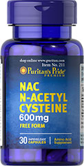 N-Acetyl Cysteine (NAC) 600 mg <p>N-acetyl Cysteine (or NAC) is a more stable form of the amino acid L-Cysteine. As a precursor to L-Cysteine, NAC and helps the body synthesize Glutathione.** NAC possesses antioxidant properties that may help fight cell-damaging free radicals.** Studies have shown that oxidative stress caused by free radicals may contribute to premature aging of cells.**</p> 30 Capsules 600 mg $8.99