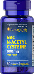 N-Acetyl Cysteine (NAC) 600 mg <p>N-acetyl Cysteine (or NAC) is a more stable form of the amino acid L-Cysteine. As a precursor to L-Cysteine, NAC and helps the body synthesize Glutathione.** NAC possesses antioxidant properties that may help fight cell-damaging free radicals.** Studies have shown that oxidative stress caused by free radicals may contribute to premature aging of cells.**</p> 60 Capsules 600 mg $12.73